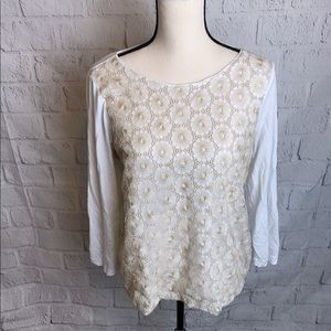 J. Crew Gold and White Top
